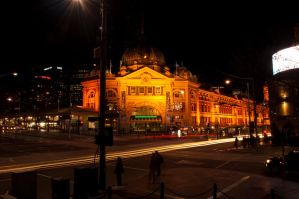Flinders Street Station Night by DanielleMiner