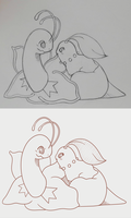 SKETCH and LINE ART: Meganium and Chikorita by SeviYummy