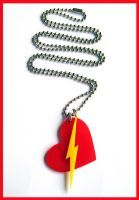 Heart Bolt Acrylic Necklace by cherryboop