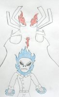 Ghost Rider and Aku, Lineart by MetroXLR99