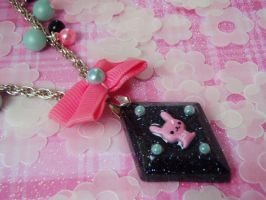 Royal Rabbit Princess Under Resin Pendant by PoniesOfDOOOM