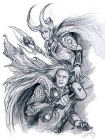 Avengers: Thor and Loki Sketch by WhyteInq