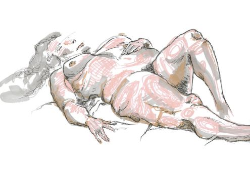 life drawing in pen by realgumption