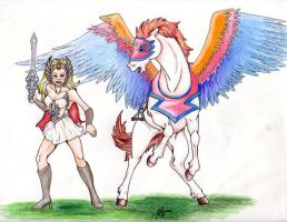 She-Ra and SwiftWind by Blueicebird
