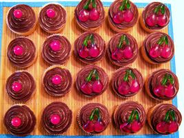 Chocolate Cherry Cupcakes IV by dashedandshattered