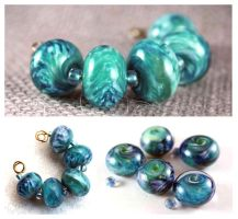 Ocean Blues Lampwork Beads Set SRA by DryGulchJewelry