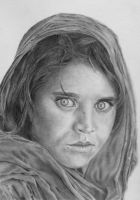Pencil drawing of Afghan Girl, Sharbat Gula by LateStarter63