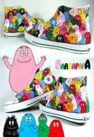 Barbapapa Party , custom shoes by Annatarhouse