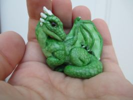 Green Dragon sculpture - Super Sculpey by tallydragon