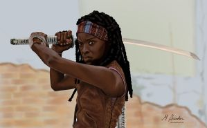 Michonne (Danai Gurira) of The Walking Dead by martianpictures