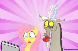 Fluttershy and Discord Discover the Internet by Cartoon-Admirer