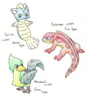 Fakemon starters by HeavyMetalManga