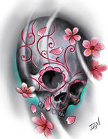 cherry blossoms and skull by jrunin