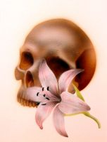 Progress 2 skull and flower by teedark