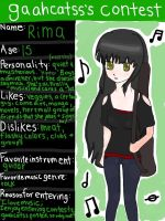 Contest Entry - OC Rima by fictionaloutcomes