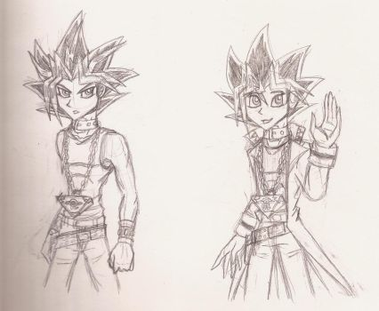 Yami and Yugi Sketches by ALS123