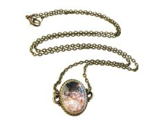Handmade Resin Golden Cosmic Galaxy Necklace by crystaland