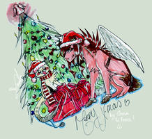 Merry X-mas by Aeva and Steam by SusuSmiles