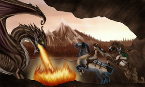 Thrainn and Oskar: Dragon hunt in the mountains by Moshpikachu