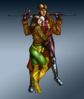 Gambit and Rogue by Deputee