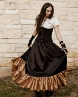 Steampunk Black and Brass Ruffle Skirt by CrystalKittyCat