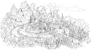 Halloween Town Map Sketch by anacathie