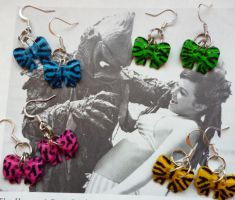 ZEBRA BOW EARRINGS by TocsinDesigns