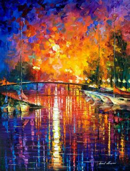 Canal In Fort Lauderdale by Leonid Afremov by Leonidafremov