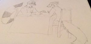 Fitz and Shiya at diner wip by LysonHeartToboe