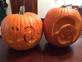 The nightmare before christmas themed pumpkins by Kat11