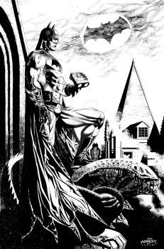 The Batman on gargoyle (alien) by JacksonHerbert