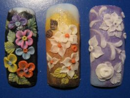 i looooove flowers on nails by asiok666