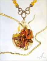 Fire dragoness guardian - stone painting necklace by AlviaAlcedo