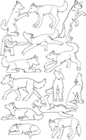 Bunch of FREE wolf linearts by Najawarie