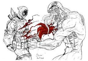 deadpool vs venom line art by suspension99