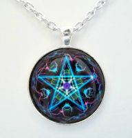 Pentacle Digital Art Pendant by HoneyCatJewelry