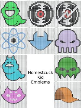 Homestuck Kid Emblems Knitting Charts by Aretemc