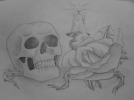 skull and rose by Midnight18th