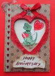 Handmade/Painted T-Rex Anniversary Card by PossumPip-Creations