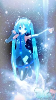 Snow Miku in space by Ask-Miku-V3