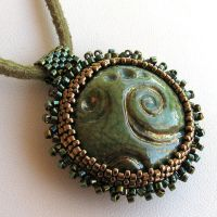 Bronze and Green Beaded Raku by SandFibers