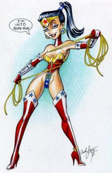 Naughty Wonder Woman rope play by andypriceart