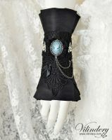 Gothic cuff with blue cameo lady by vilindery