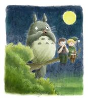 Totoro treats Owen and Link by minkee