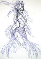 Nami, the Tidecaller, Red Lionfish Mermaid- WIP1.1 by Noctume