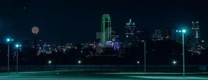 Dallas Night Time Skyline by ToneyHadnotJr