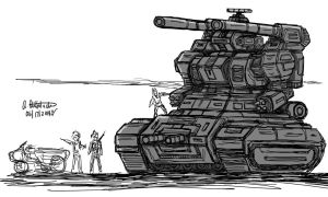 Quick Drawing my own version of Gun Tank by archaznable30