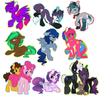 a sheet ton of ponies by coffaefox