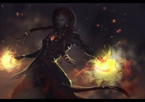 Spitpaint_Fire_Sorceress by JustMick