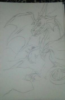 Dragon guarding egg (Unfinished sketch) by winged-wolf-tsuki